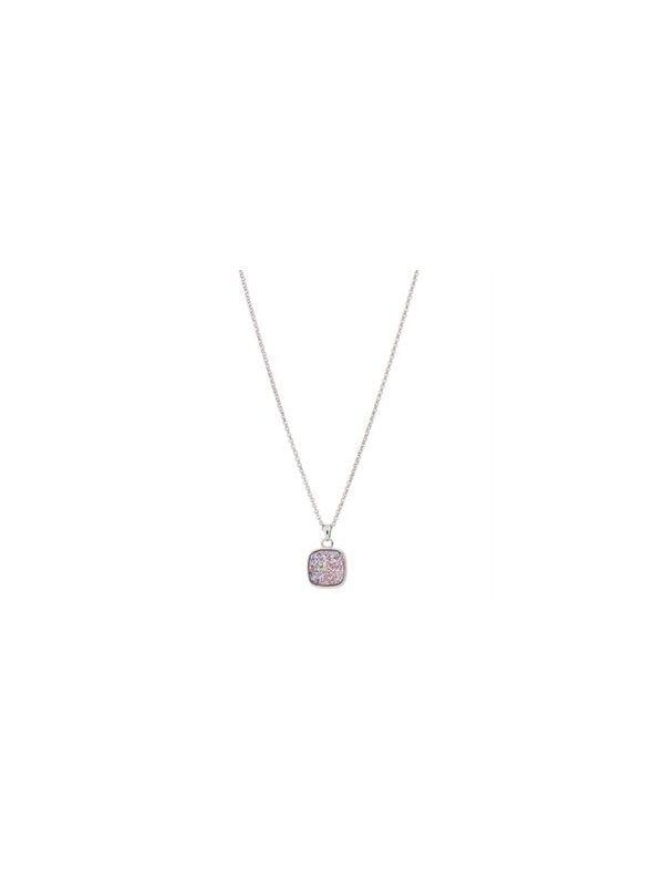 "Pink Faux Druzy Necklace - 18"""