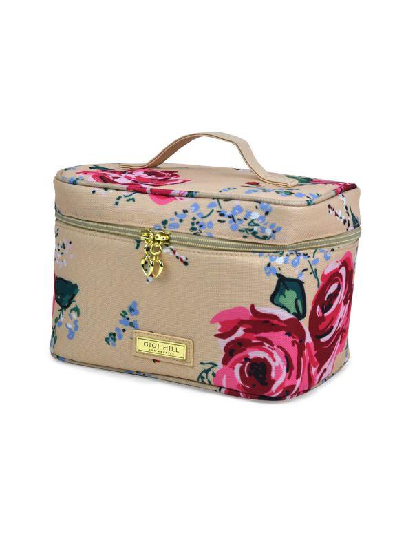 Lucille Antique Floral Train Case