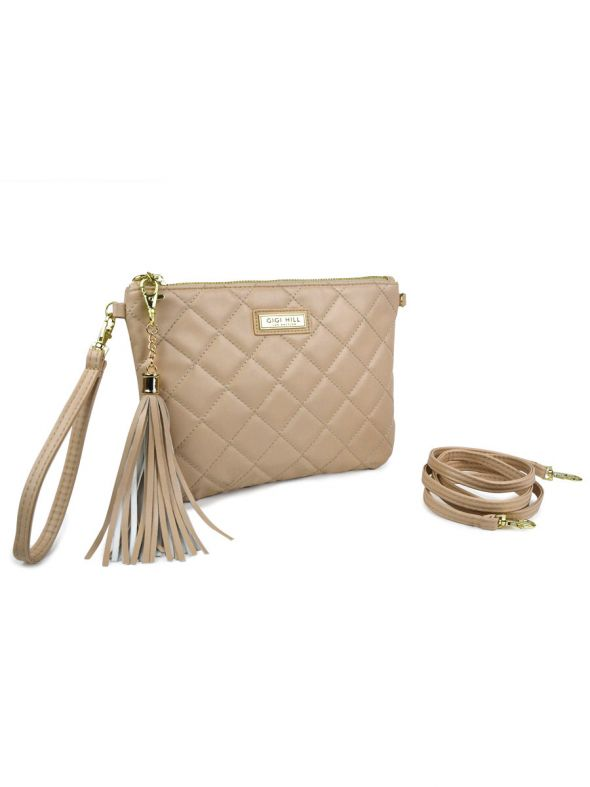 Ashley Quilted Tan 3 in 1 Clutch